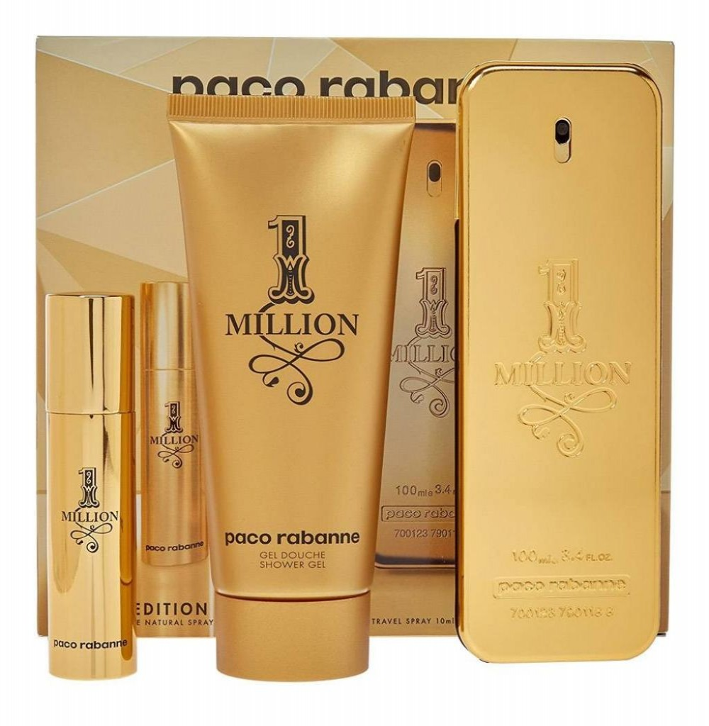 Kit Perfume Paco Rabanne 1 Million Eau de Toilette Masculino 100ML + Gel de Banho 100ML + Mini 10ML