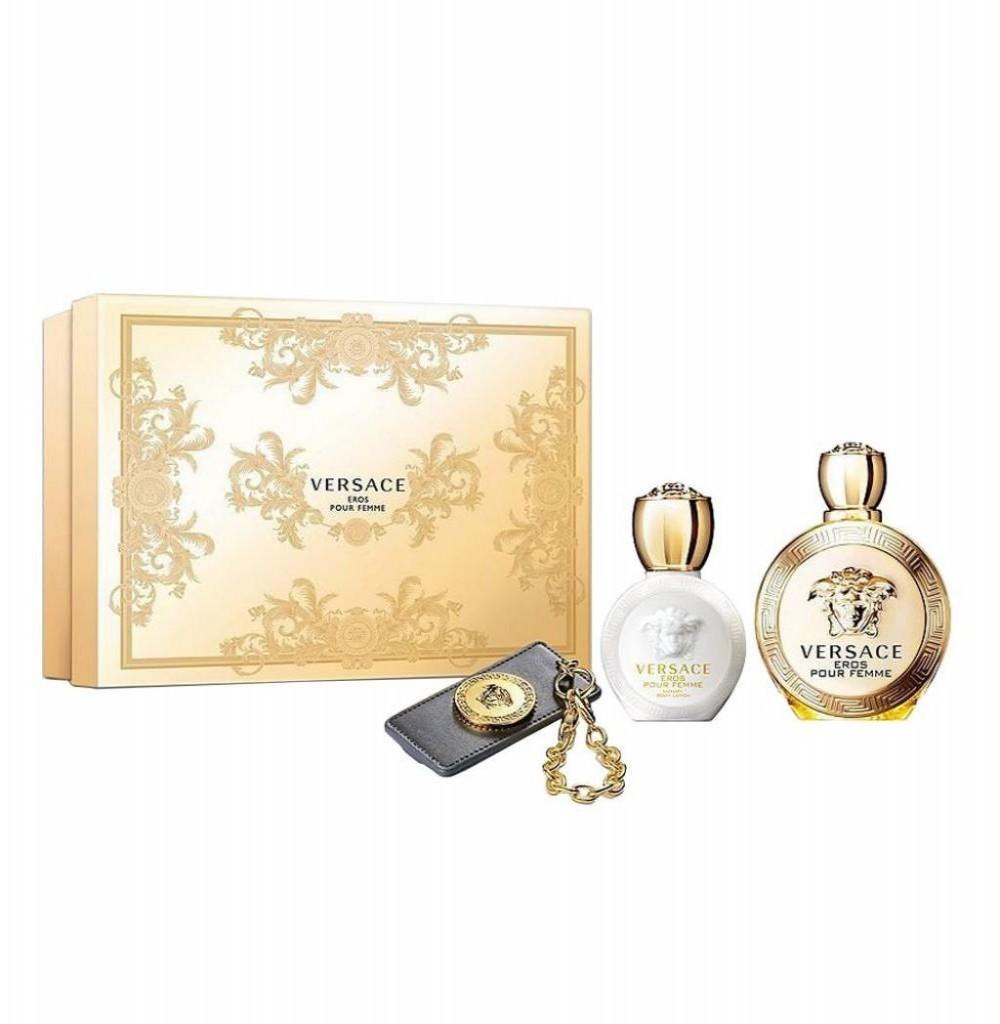 Kit Perfume Versace Eros Pour Femme Eau de Parfum Feminino  100ML + Loção corporal + Chaveiro