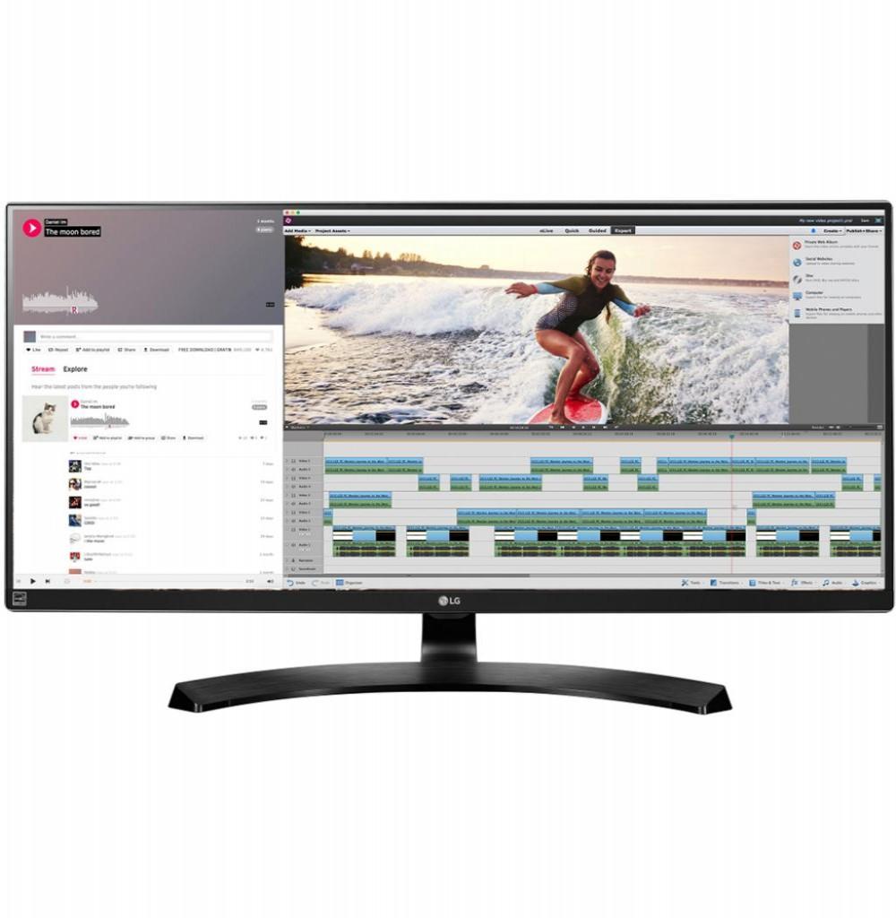 """Monitor LG 34"""" 34UM88-P IPS QHD/HDMI Bivolt Preto"""