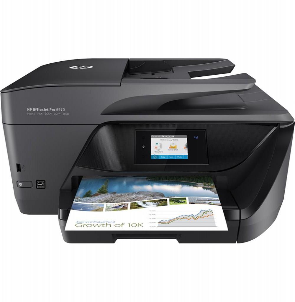 Impressora HP Multifuncional OfficeJet Pro 6970 Wide J7K34A Wi Fi 4 em 1 Bivolt - Preto