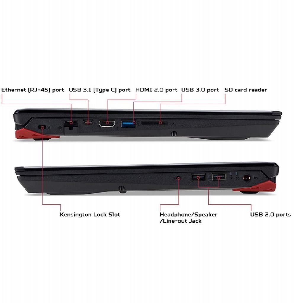 "Notebook Acer Predator PH315-51-78NP i7 2.2GHZ/ 16GB/ 256GB/ GTX1060 6GB/ 15.6"" FHD"