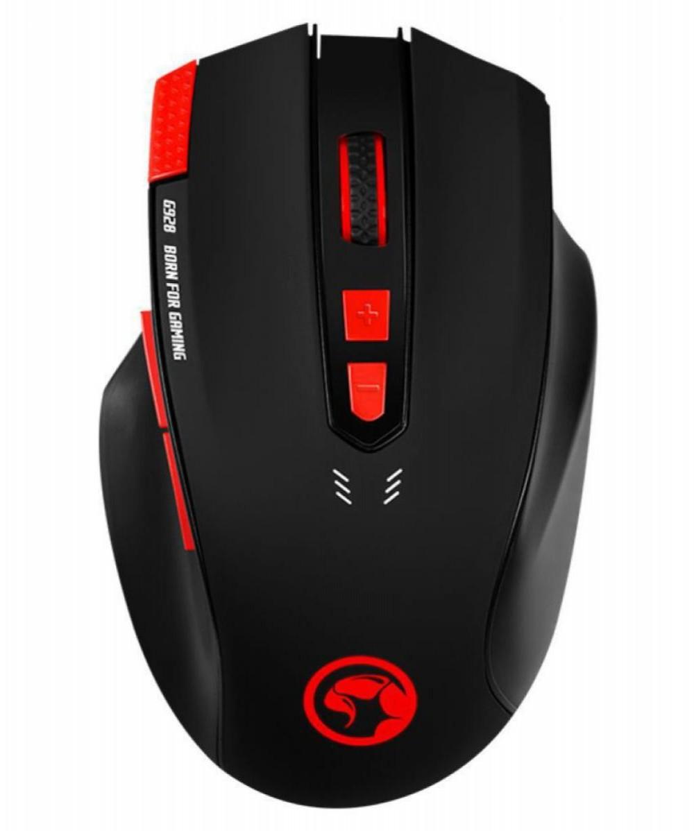 Mouse Gaming Marvo G928 Scorpion com fio USB + Mouse Pad G1 Preto/Vermelho