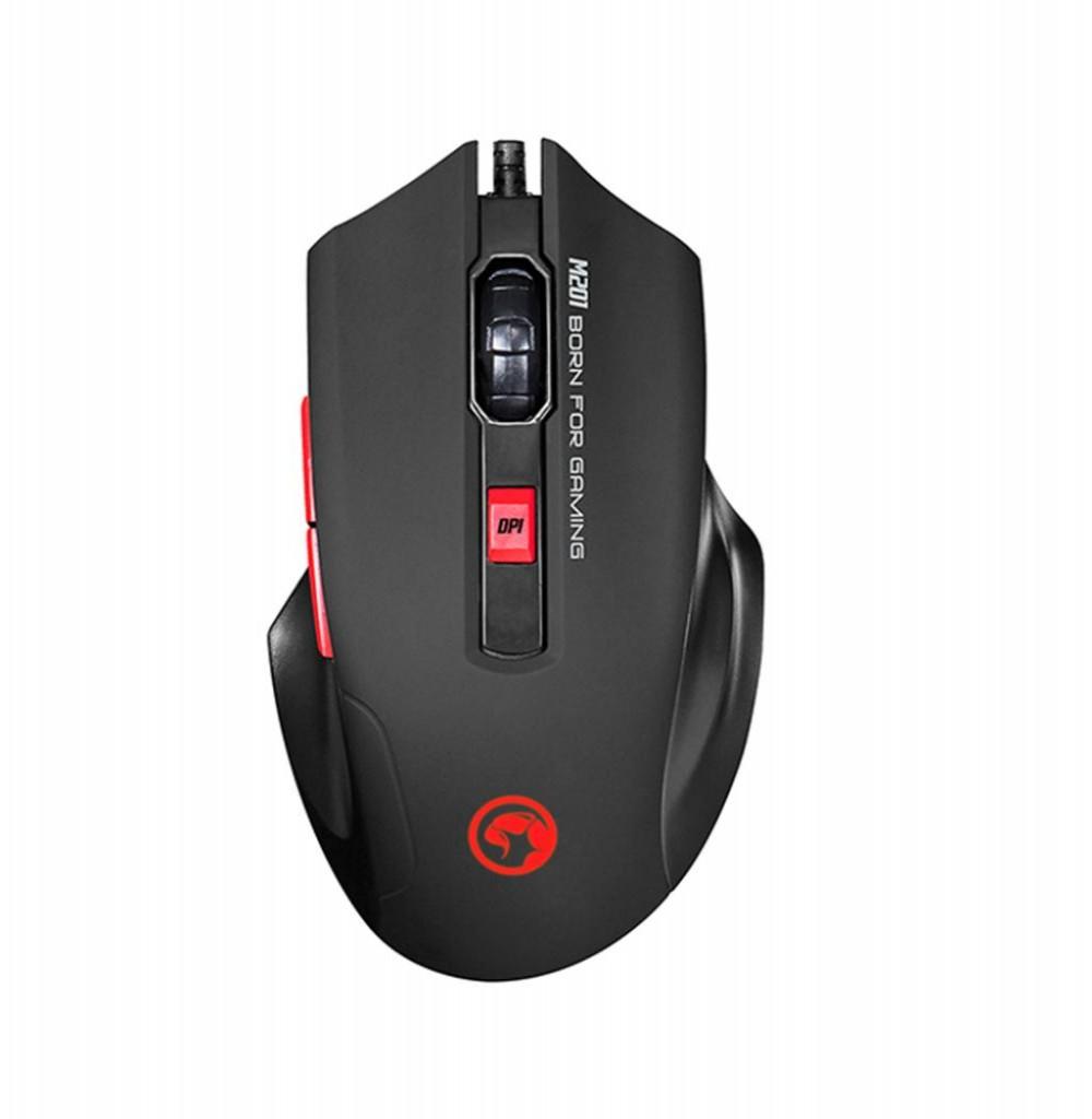 Mouse Gaming Marvo M201 Scorpion com fio USB Preto/Vermelho