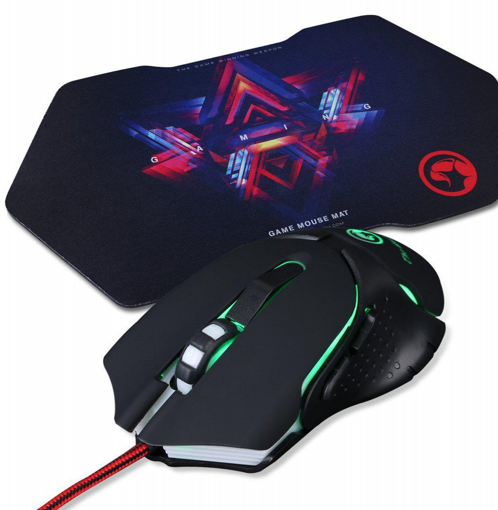 Mouse Gaming Marvo M309 Backlighted USB + Mouse Pad G7 Preto