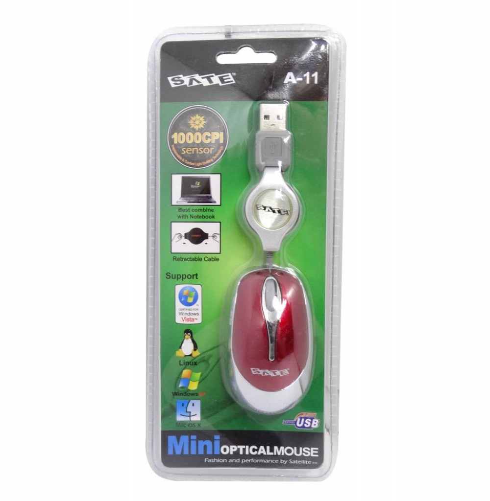Mouse Óptico Satellite A-11 Mini USB de 1000 CPI - Vermelho