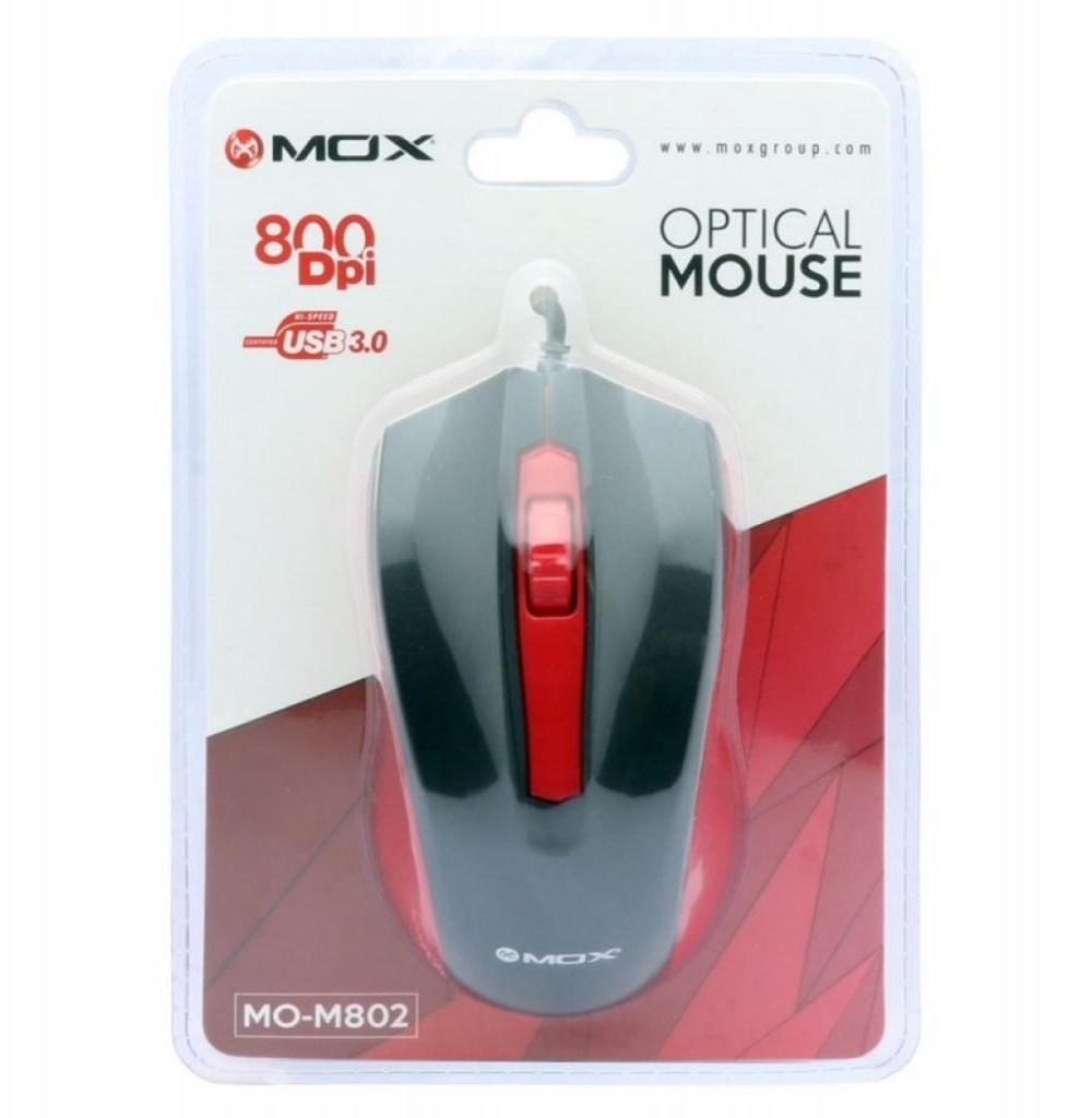 Mouse Óptico MOX MO-M802 USB de 800 DPI - Preto/Vermelho