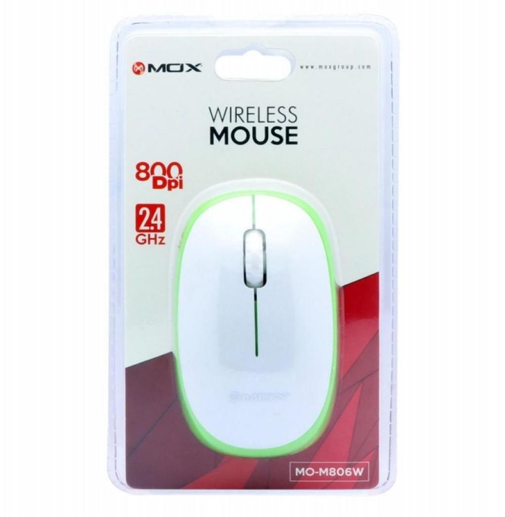 Mouse Óptico Sem Fio MOX MO-M806W USB de 800 DPI - Branco Verde