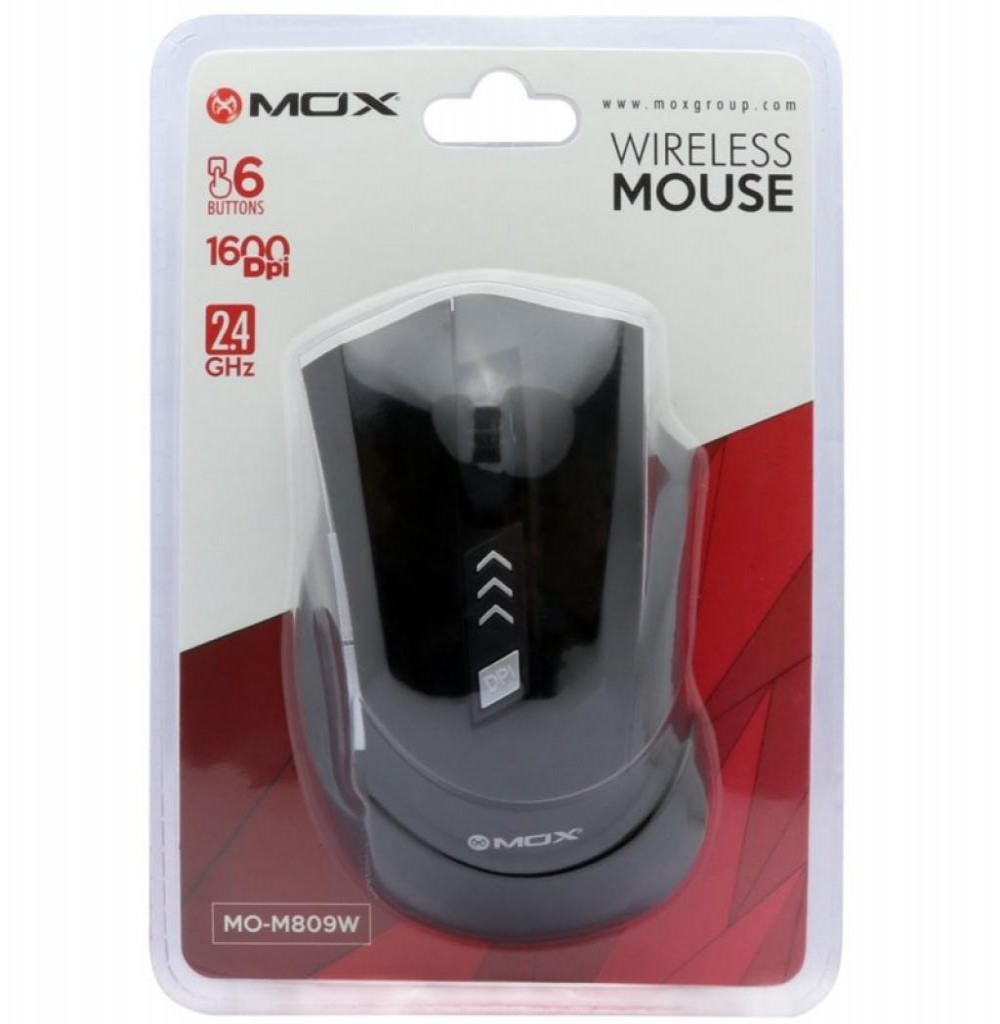 Mouse Mox MO-M809W Wireless 2.4GHZ 1600Dpi - Preto