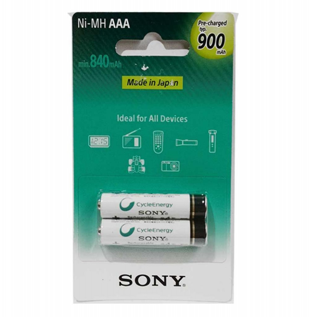 Pilha Recarregável Sony NH-AAA-B2GN 900MAH Com 2 AAA