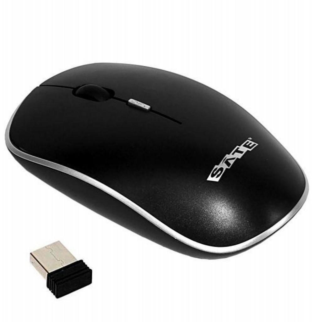 Mouse Óptico Sem Fio Satellite A-72G USB 1600 DPI - Preto