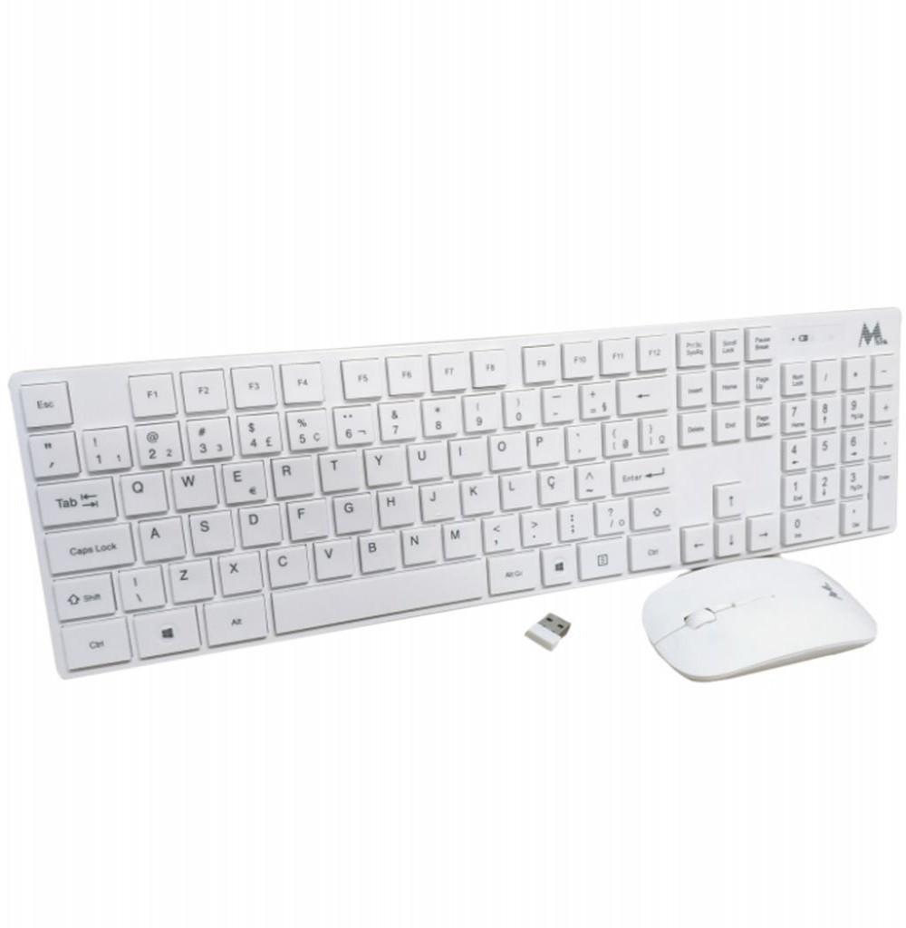 Teclado e Mouse Ópico sem Fio Mtek KM1023 Standard - Branco (Português)