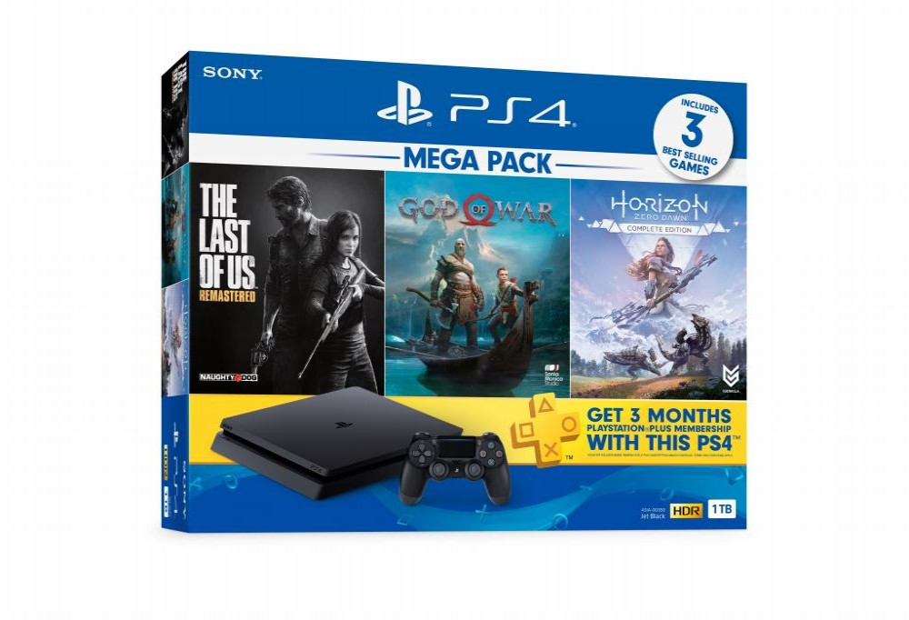 Console Sony Play Station 4 - 1TB 2215 - Bundle God Of War/The Last Of US/Horizon Zero