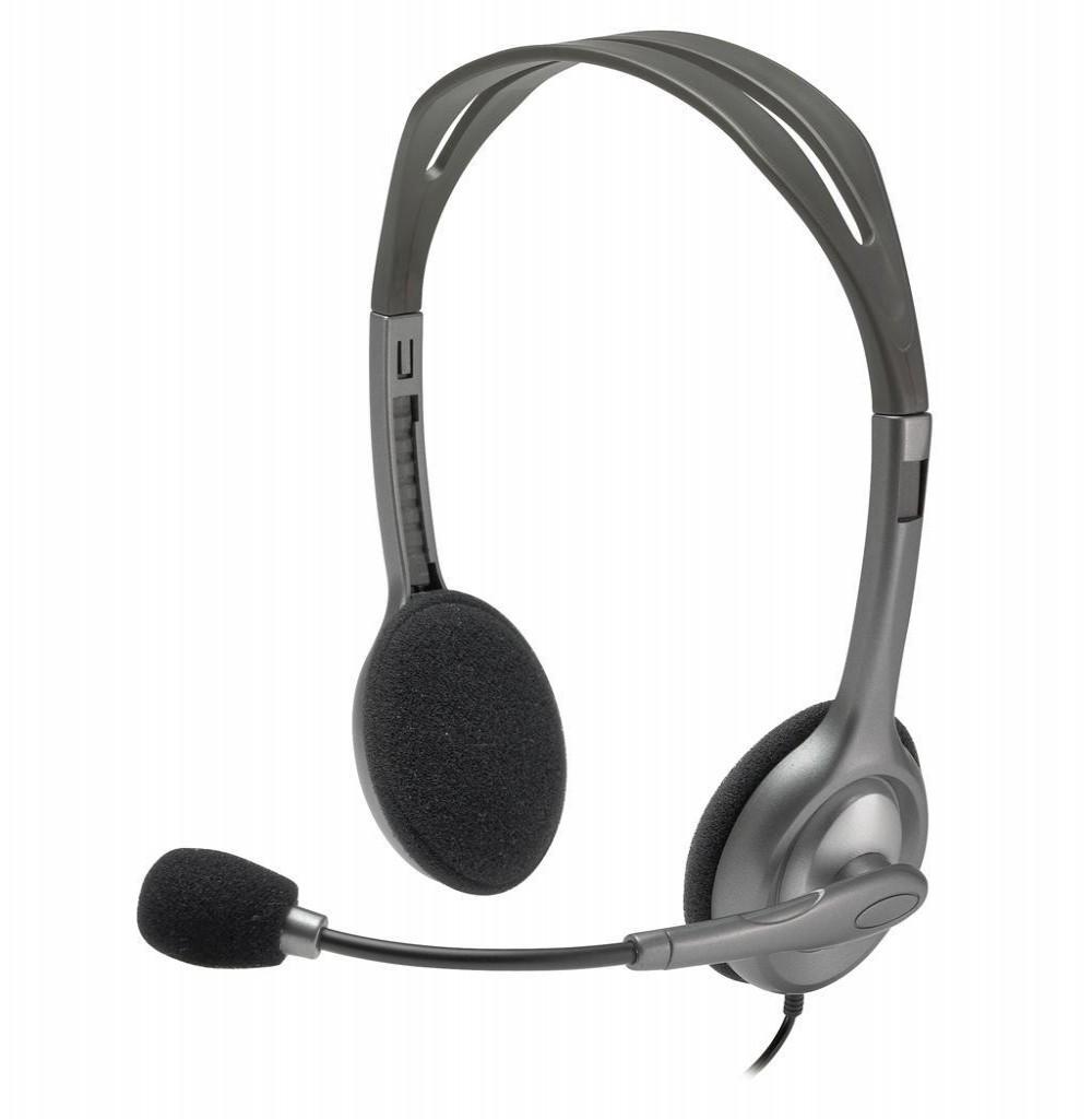 Headset Logitech H111 com Microfone - Cinza/Preto