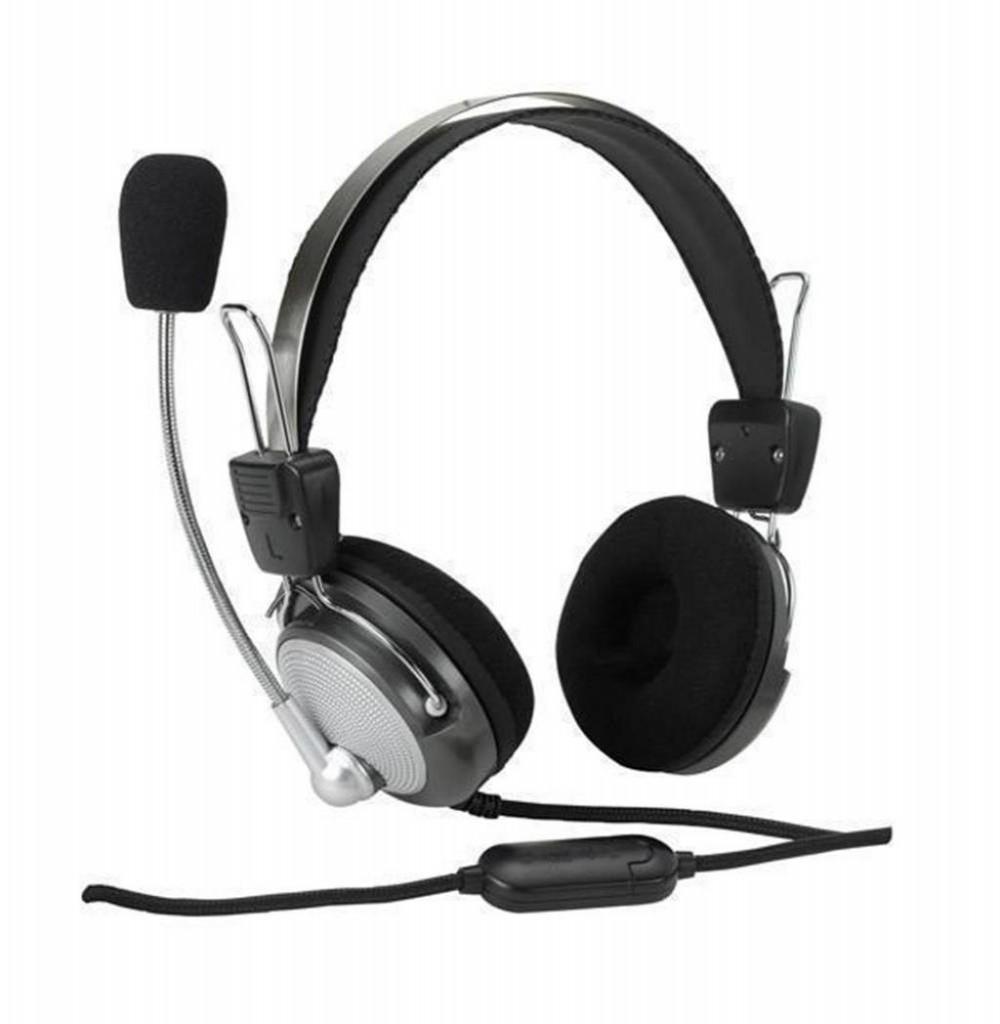 Headset Satellite AE-335 com Microfone Dobrável - Prata/Preto