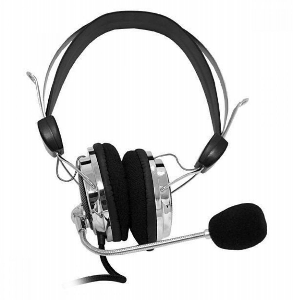 Headset Satellite AE-341 com Microfone Dobrável - Preto/Prata