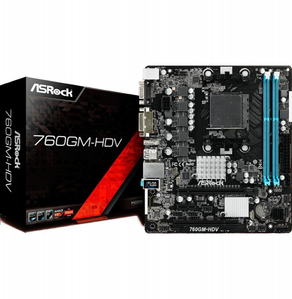 Placa Mãe Asrock 760GM-HDV AM3+ com Saidas de Video VGA, DVI e HDMI / Lan / Som / Slot de Memoria DDR3