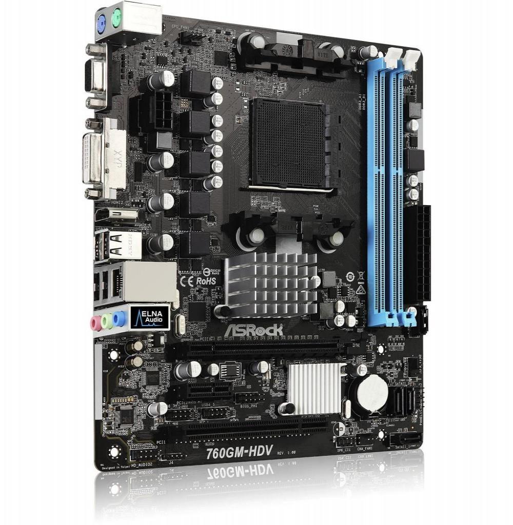 Placa Mãe Asrock 760GM-HDV AM3+ com Saidas de Video VGA, DVI e HDMI / Lan / Som / Slot de Memoria DDR3