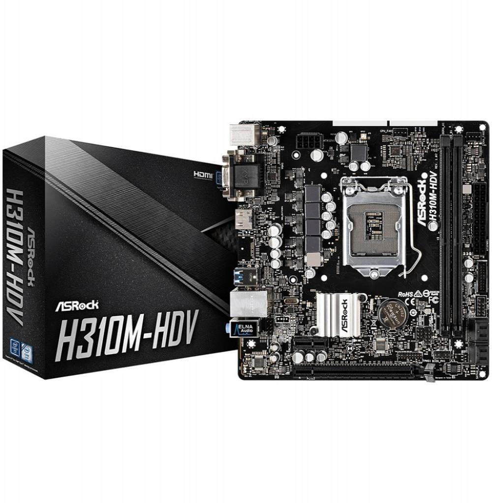 Placa Mãe ASRock H310M-HDV LGA1151/DDR4/SATA3/PCI-E/DVI-D/HDMI