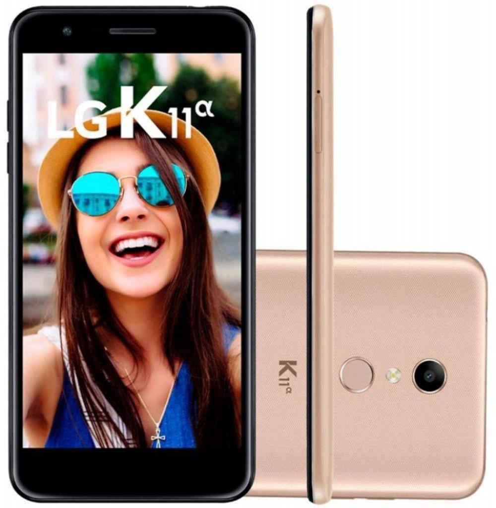 """Smartphone LG K11 Alpha LM-X410FTW Dual SIM 16GB de 5.3"""" 8MP/5MP OS 7.1.2 - Dourado"""