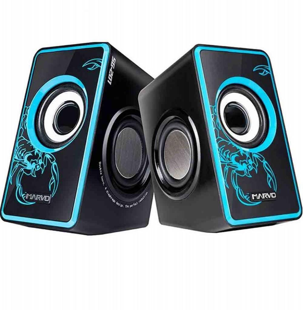 Caixa de Som Marvo Scorpion SG-201 USB 2.0 6W Preto Azul