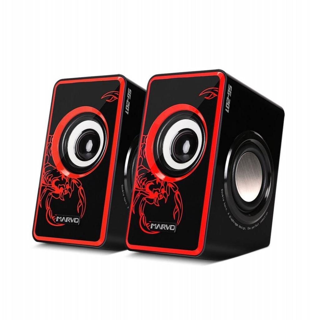 Speaker Marvo Scorpion SG-201 USB 2.0 6W Preto/Vermelho