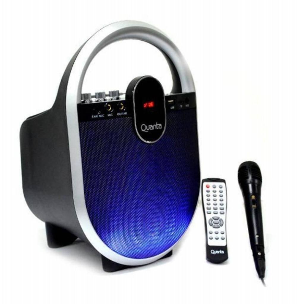"Caixa Karaokê Quanta QTSBT26 6.50"" com Bluetooth/USB/SD/FM + 1 Microfone - Preto"