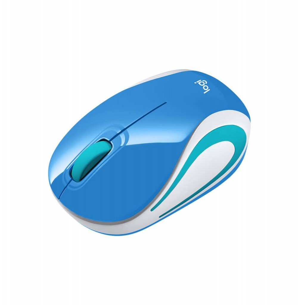 Mouse Logitech M187 Wireless 910-005360 2.4GHz Azul Branco